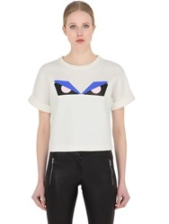 Fendi Monster Cropped Cotton Jersey T Shirt