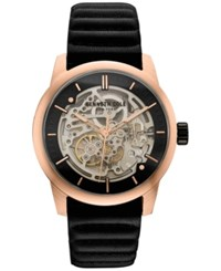 Kenneth Cole New York Men's Automatic Black Leather Strap Watch 40X51mm 10030789 Rose Gold