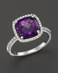 Bloomingdale's Amethyst And Diamond Cushion Cut Ring In 14K White Gold Purple White