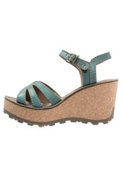 Fly London Gort Sebta Platform Sandals Turquoise