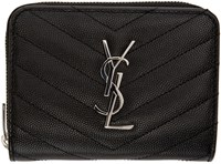 Saint Laurent Black Quilted Monogram Compact Wallet