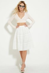 Forever 21 Grid Cutout A Line Skirt White