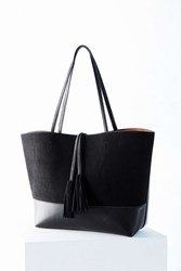 Bdg Suede Vegan Leather Tassel Tote Bag Black