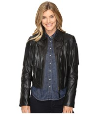 Stetson Fringed Leather Jacket Black Women's Coat