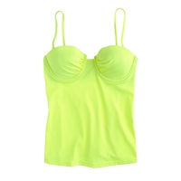 J.Crew Neon Underwire Swing Tankini Top Neon Yellow