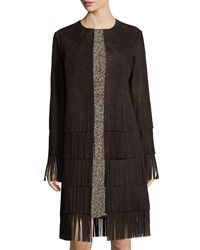 Michael Kors Long Sleeve Suede Layered Fringe Coat Chocolate