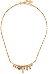 Elizabeth Cole Dakota Gold Plated Swarovski Crystal And Faux Pearl Necklace Metallic