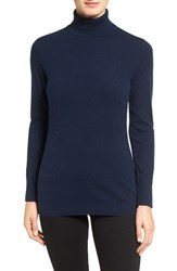 Nordstrom Women's Collection Long Cashmere Turtleneck Sweater Navy Medieval