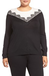 Vince Camuto Plus Size Women's Lace Trim Colorblock Sweater Rich Black