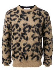 Toga Leopard Pattern Jacquard Pullover Brown