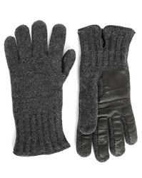 Hackett Navy Wool Black Leather Touch Dual Fabric Gloves