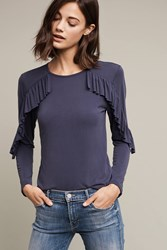 Anthropologie Shadowsong Ruffle Tee Navy