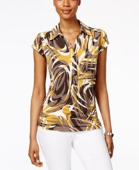 Alfani Printed Cap Sleeve Polo Top Only At Macy's Whirl Waves Maize Yellow