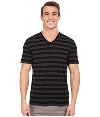 Icebreaker Tech Lite Short Sleeve V Stripe Black Monsoon Black Men's Clothing