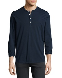 7 For All Mankind Long Sleeve Henley Shirt Navy