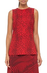 Akris Women's Cheetah Print Sleeveless Wool Crepe Top