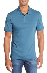 Men's Nordstrom Men's Shop Regular Fit Interlock Knit Polo Teal Steel