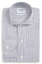 Ledbury Men's Big And Tall Corgan Trim Fit Check Dress Shirt Grey