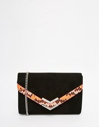 Carvela Envelope Clutch Bag With Bright Faux Snake Panel Black Pink