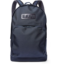 White Mountaineering Leather Trimmed Tech Canvas Backpack Blue