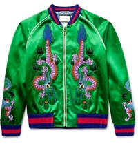 Gucci Appliqued Silk Satin Bomber Jacket Green