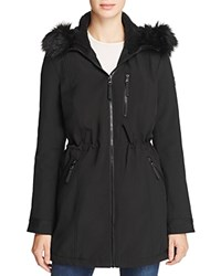 Calvin Klein Faux Fur Trim Jacket Black
