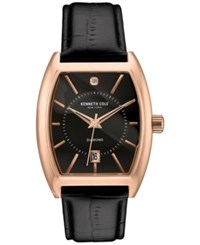 Kenneth Cole New York Men's Automatic Diamond Accent Black Leather Strap Watch 44X52mm 10030819 Rose Gold