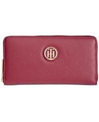 Tommy Hilfiger Lucky Charm Large Pebble Leather Zip Around Wallet Cabernet