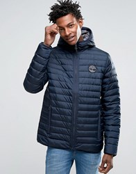 Timberland Lightweight Hooded Down Jacket In Navy Dark Sapphire