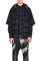 Sacai Shirt Jacket In Green Checkered And Plaid