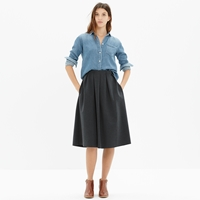Madewell Pleated Ponte Midi Skirt