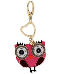 Betsey Johnson Gold Tone Fabric Owl Keychain Pink