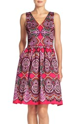 Women's Maggy London Print Sateen Fit And Flare Dress