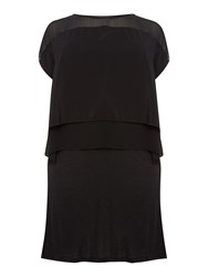 Label Lab Plus Size Triple Layer Jersey Woven Dress Black And Grey