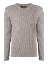 Label Lab Men's Preston Scoop Neck Ribbed Jumper Grey Marl