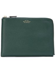 Smythson Medium 'Burlington' Pouch Green