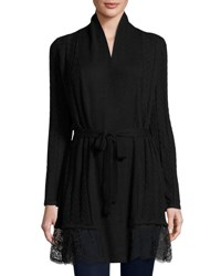 Neiman Marcus Cashmere Blend Cable Cardigan With Lace Trim Black