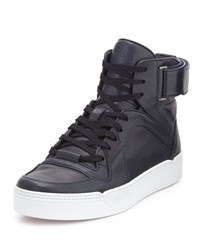Gucci Nylon Guccissima Leather High Top Sneaker Navy Size 6.5G 7.5Us