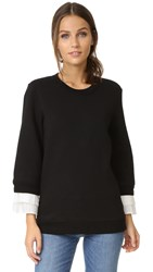 Clu Pleated Sweatshirt Black White