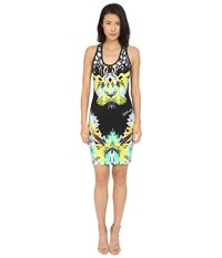 Just Cavalli Fitted Printed Jersey Tank Dress Leo Giraffe Print Black Women's Dress
