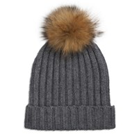 Indian Summer Grey Ribbed Cashmere Hat