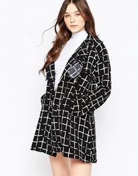 Liquorish Monochrome Grid Check Lightweight Jacket Black White