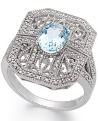 Macy's Aquamarine 1 Ct. T.W. And Diamond 1 10 Ct. T.W. Filigree Ring In Sterling Silver Blue