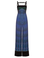 Mary Katrantzou Moss Snuffbox Print Crepe Jumpsuit Navy Multi