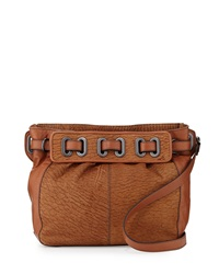 Kooba Jordyn Veined Leather Crossbody Bag Tan Amber