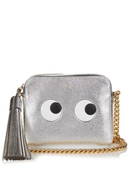 Anya Hindmarch Eyes Leather Cross Body Bag Silver