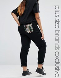 Liquor And Poker Plus Denim Jeans With Rips Sequin Pocket Black
