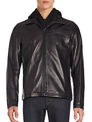Vince Camuto Leather Long Sleeve Jacket Black