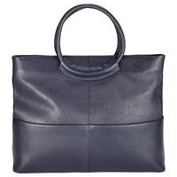 John Lewis Kin By Fia Leather Tote Bag Navy