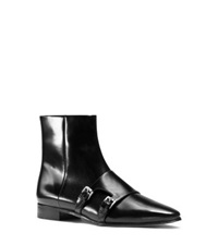 Michael Kors Laura Monk Strap Leather Ankle Boot Black
